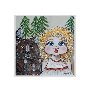 TenStickers. Muursticker kinderen sprookje Goudlokje. Muursticker speciaal ontworpen voor kinderen met een bekend karakter uit een sprookje; Goudlokje met op de achtergrond de beren.