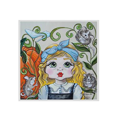 TenVinilo. Vinilo infantil marco Cenicienta. Vinilos infantiles de cuentos con una representación de Cenicienta acompañada de varios ratones y la famosa calabaza.