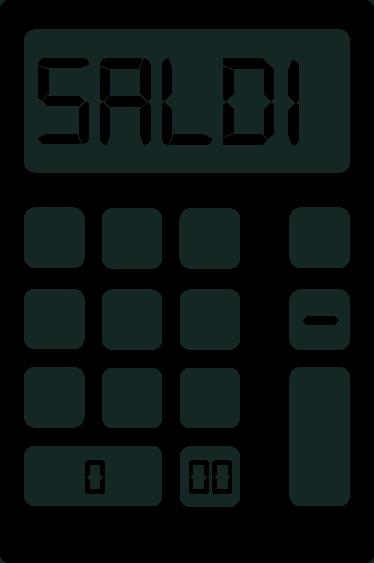 TenStickers. Vetrofania Saldi Calcolatrice. Vetrofania saldi Calcolatrice creata per decorare le vetrine del tuo shop in modo divertente e originale.