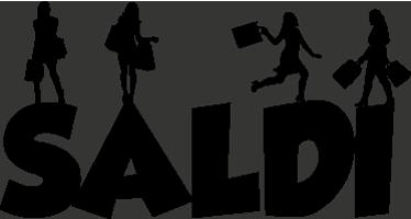 """TenStickers. Adesivo Saldi silhouette ragazze. Adesivo decorativo con la scritta """"Saldi"""" a caratteri cubitali e silhouette femminili con shopping bag. Personalizza in modo unico il tuo shop."""