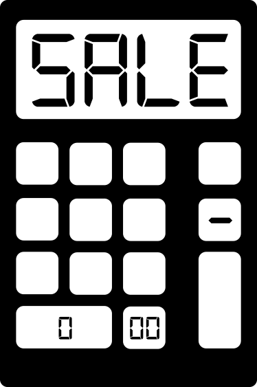 TenStickers. Sticker calculator UK. This promotional sign, consists of a giant calculator with sale written in the display screen.