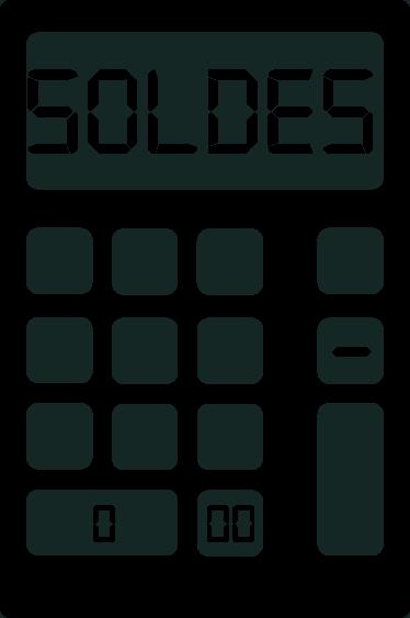 """TenStickers. sticker soldes calculette. Un adhésif soldes pour vitrines représentant une calculette avec le mot """"soldes"""", applicable sur toutes surfaces. Application Facile."""