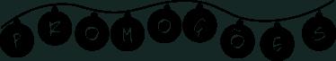 """TenStickers. Autocolante promoções bolas de natal. Autocolante promoções com o desenho de bolas de natas presas por um fio, e em cada bola, cada uma das letras que formam a palavra """"promoções""""."""