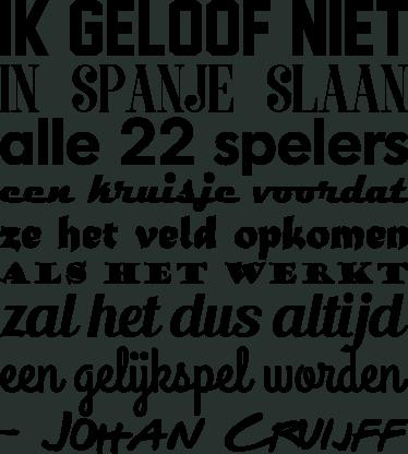 TenStickers. Tekst sticker Ik Geloof Niet- Johan Cruijff. Tekst sticker Ik Geloof Niet- Johan Cruijff, een van de mooie cruijffiaanse spreekwoorden van de veel te vroeg overleden voetbal legende.