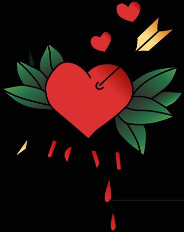 TENSTICKERS. 愛のテキストステッカーと心を矢印. このカラフルなバレンタインデーのステッカーをご覧ください。ハートを通る矢印と、愛というテキストが付いています。サイズをお選びください。