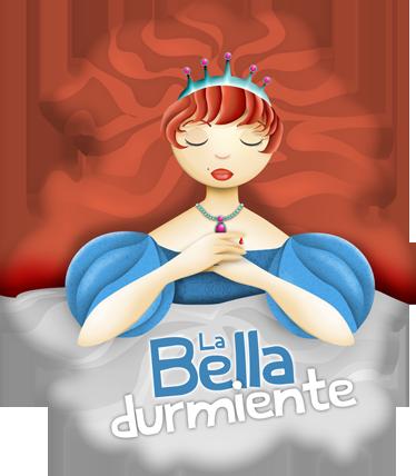 TenVinilo. Vinilo infantil bella durmiente texto. Ilustración de la Bella durmiente con corona y los ojos cerrados. Uno de los vinilos infantiles de la colección cuentos clásicos.