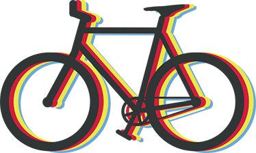 TenStickers. Multicolored halo bikes cycling wall sticker. Sport wall sticker design of a colorful cycling bike. This design is available in any required size and it is self adhesive.
