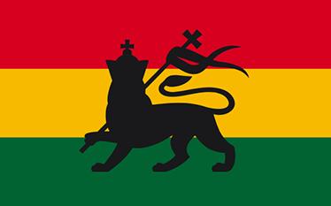 TenVinilo. Vinilos rasta bandera y león. Vinilos de banderas con una representación del emblema Rastafari con la silueta de un león rampante y los colores de la bandera de Etiopía.