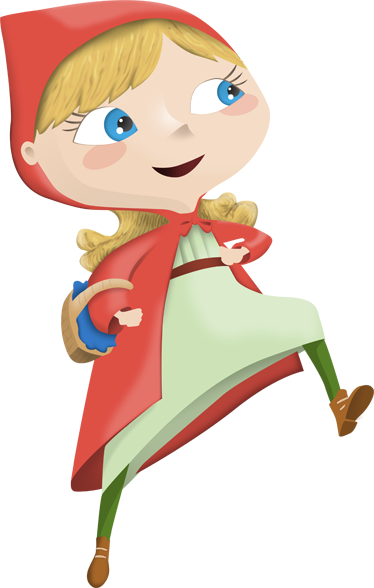 TenStickers. Little Red Riding Hood Sticker. Decorative sticker illustrating little red riding hood with blonde hair and a small basket on her right arm