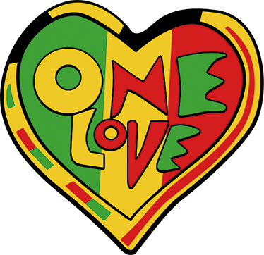 "TenStickers. Sticker Rasta One Love. Ce sticker mural Rasta rayonne la paix et l'amour. L'autocollant mural se compose du message ""one love"" de la célèbre chanson de Rastafarian."