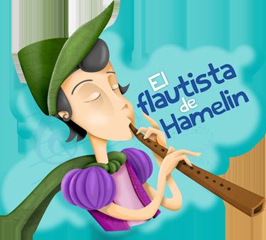 TenVinilo. Vinilo infantil Flautista Hamelin texto. Ilustración del Flautista de Hamelin tocando una larga flauta de madera. Uno de los vinilos infantiles de la colección cuentos clásicos.