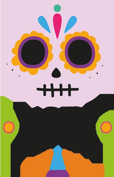 TENSTICKERS. スカルメキシコハロウィンウォールデカール. 選択したスペースを飾るための恐ろしい巨大なメキシコの頭蓋骨のデザインが施されたカラフルなハロウィーンの壁のステッカー。名前でカスタマイズ可能です。