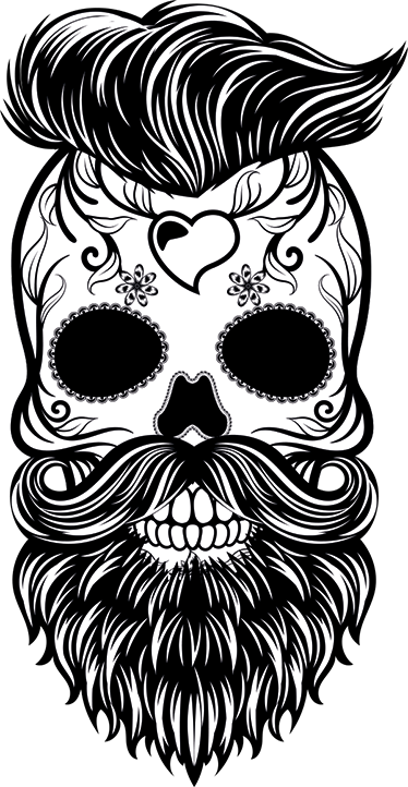 TenStickers. Hipster Skull Sticker. Skull wall stickers and barber stickers - A unique and original sticker featuring a skull with a hipster style haircut, beard and tattoos.
