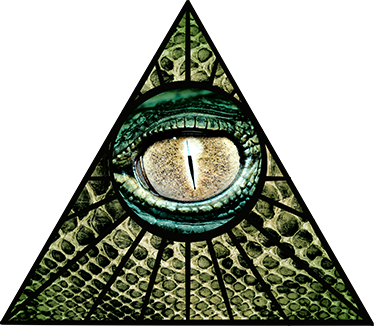 TenStickers. Illuminati Reptile Sticker. Wall Sticker of a sign which is widely known as the Illuminati symbol with a reptilian eye in a triangle or pyramid.