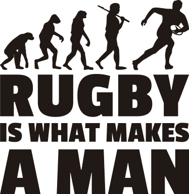TenStickers. Vinilo rugby is what makes a man. O autocolante decorativo ilustrado com a evolução humana do rugby foi desenhado para os fãs do rugby