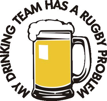 """TenVinilo. Vinilo original has a rugby problem. Pegatina formada por la ilustración de una cerveza con el texto """"My drinking team has a rugby problem"""" alrededor. Atención al Cliente Personalizada."""