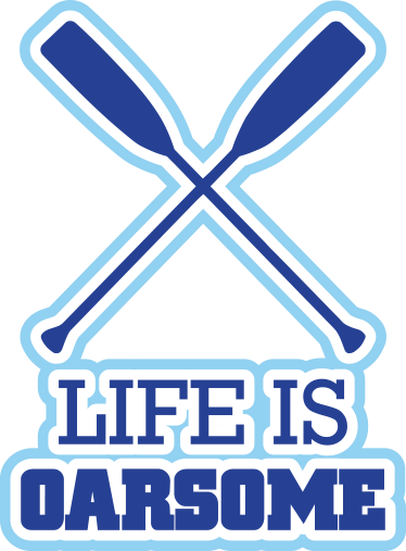 TenStickers. Life Is Oarsome Wall Sticker. Wall Sticker with the text Life is oarsome, a clever play on the words. The design consists of two oars are crossed above the text