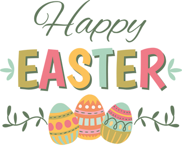 TenStickers. Easter Egg Wall Sticker. Text Sticker with the message Happy Easter with the word Easter printed in different colours. The Easter eggs are also printed in bright colours