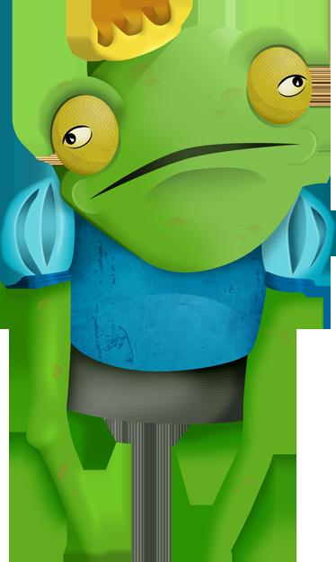 Tenstickers. Grodan prins vägg klistermärke. Barnväggklistermärken; lekfull illustration inspirerad av barndomens klassiker - grodprinsen. Fantastisk för barnens sovrum och lekplatser.