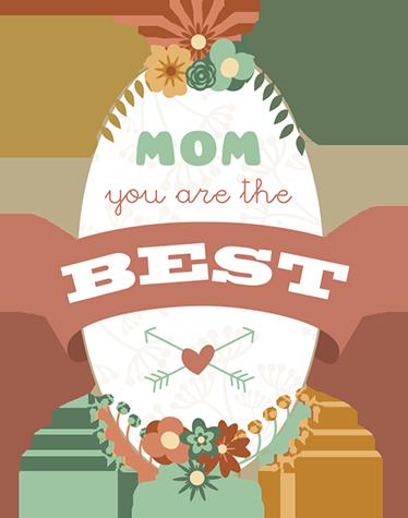 TenStickers. Vinil estilo retro floral para mães. Vinil decorativo Mãe tu és a melhor. Surpreende a tua mãe com este fantástico vinil autocolante de qualidade e por um preço económico.