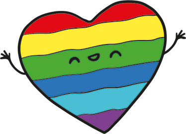 TenVinilo. Adhesivo bandera orgullo gay corazón. Vinilo decorativo ambiente que muestra la ilustración infantil de un corazón sonriente con la bandera gay y sus colores de arco iris.