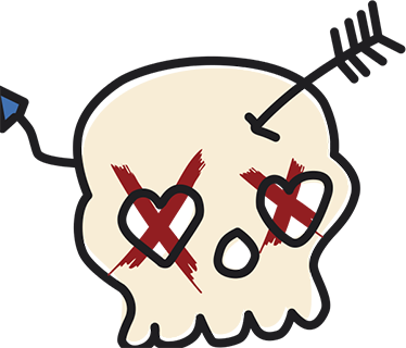 TenStickers. No Love Skull Wall Sticker. A wall decoration of a skull with an arrow from Cupid going through his forehead. Decorate your living room, bedroom or office with this wall sticker.