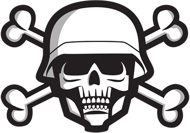Skull Military Sticker. Wall color