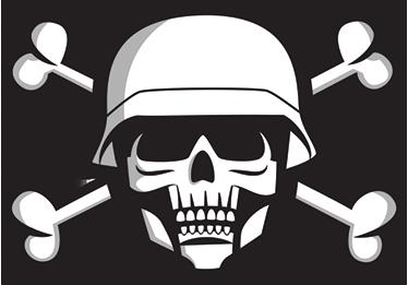 TenStickers. Muursticker doodshoofd militair. Muursticker doodshoofd militair, alsof doodskoppen nog niet eng en stoer genoeg waren heeft deze een militaire helm op.