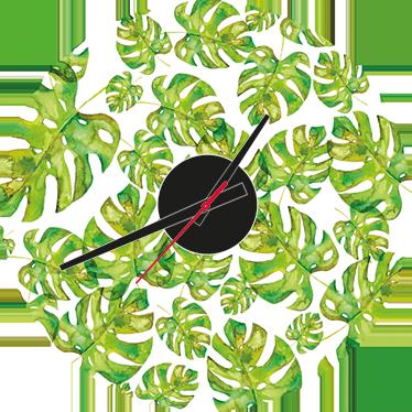 TenStickers. Orologio adesivo Monstera Deliciosa. Orologio decorativo per tutti gli appassionati di giardinaggio e di monstera deliciosa che amano la puntualità.