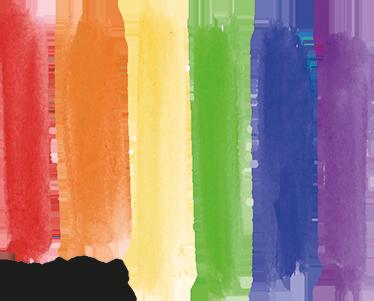 """TenVinilo. Vinilo bandera orgullo gay texto pride. Vinilo decorativo original con representación de varios trazos verticales dibujando el Arco Iris y en la esquina inferior el texto  """"PRIDE"""""""