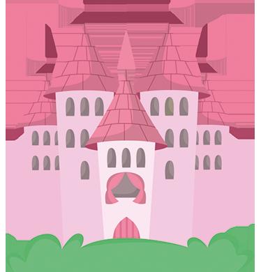 TenStickers. Muursticker kinderen kasteel roze. Muursticker speciaal voor kinderen met een prachtig en magisch kasteel in verschillende tinten roze.
