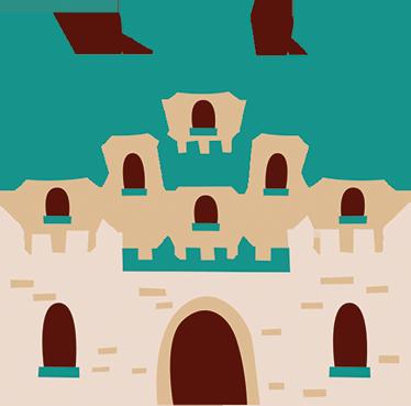 TenStickers. Wandtattoo Burg Jungs. Dieses Wandtattoo für Kinderzimmer zeigt eine Ritterburg mit Schlossmauer und vielen schönen Türmen in dunklem grün.