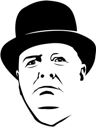 TENSTICKERS. ウィンストンチャーチルウォールステッカー. 選択した任意の平らな面を飾るためのウィンストン・チャーチルの肖像画の装飾的なキャラクターウォールステッカー。必要なサイズでご利用いただけます。