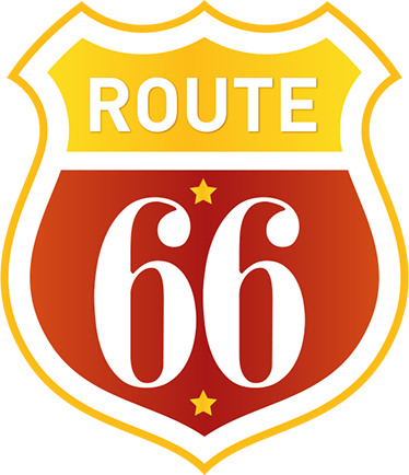 TenVinilo. Vinilo decorativo retro Ruta 66. Pegatinas para coches con una representación de la famosa señal de tráfico de Estados Unidos que cruza el país.