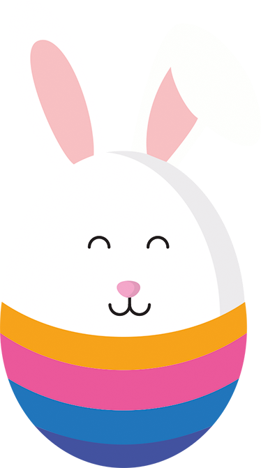 TenStickers. Half Egg And Half Easter Bunny Wall Sticker. An Easter wall sticker for children. The Easter decal consists of a multi-coloured Easter egg in which the top has been replaced by the Easter Bunny.