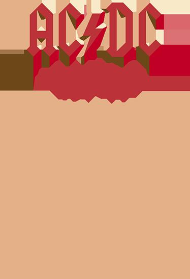 TenVinilo. Vinilos ACDC formación 2016. En este sticker aparece un listado de los músicos que integran el grupo liderados Angus Young durante la gira del año 2016.