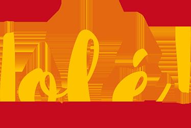 TenVinilo. Adhesivo bandera España Olé. Vinilos decorativos españoles con una de las expresiones más características de la tierra pintada con la rojigualda.