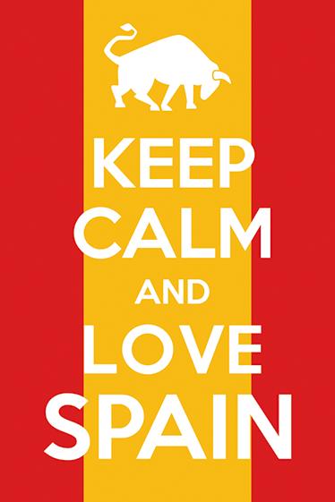 TENSTICKERS. 落ち着いてスペインを愛するテキストステッカー. 「落ち着いてスペインを愛する」と書かれたスペイン国旗のステッカーをご覧ください。サイズをお選びいただけます。適用が簡単
