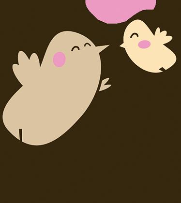 TenVinilo. Vinilo decorativo aves día de la madre. En este sticker aparecen representados un pájaro y su cría y un texto de felicitación en la parte inferior.