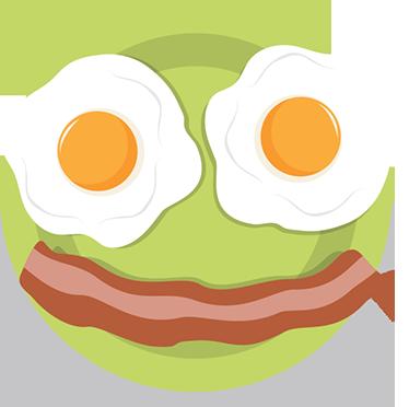 TenStickers. Muursticker blij ontbijt. Muursticker met een blij ontbijt van twee gebakken eitjes met een reep bacon, in de vorm van een smiley natuurlijk.
