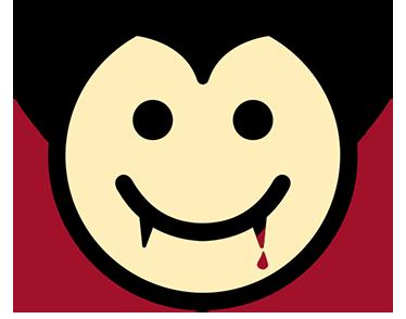TenStickers. Adesivo bambini Dracula Felice. Sticker decorativo per bambini con il simpatico disegno di una faccina di Dracula Felice per aver appena fatto uno spuntino.