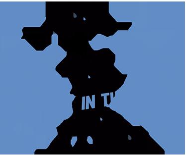 TenStickers. Wandtattoo Singing in the rain. Dieses Wandtattoo zeigt ein verliebtes Paar unter einem Regenschirm. Um es herum regnet es blaue Tropfen.