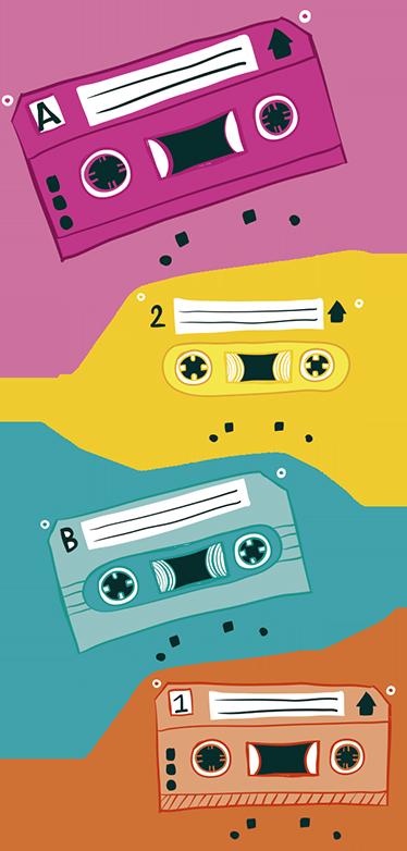 TenStickers. Sticker cassettes couleurs. Sticker représentant des cassettes de couleurs différentes qui renvoient aux années 1980.