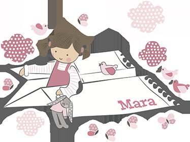 TENSTICKERS. 名前の赤ちゃんの壁ステッカー付き紙飛行機. 紙飛行機を持つ小さな女の子とテディベアの女の子を描いた素晴らしいイラストが描かれたウォールステッカー!