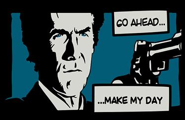 """TenVinilo. Vinilo para portátil Harry el Sucio. Vinilos PC con viñeta de una escena de la película del inspector Harry """"Dirty Harry"""" Callahan con los textos """"Go ahead… Make my day""""."""