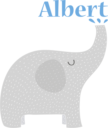 TenStickers. Personalised Children's Elephant's Trunk Sticker. This customisable children's sticker shows a playful elephant squirting up water into the name of your choice. Ideal for a child's bedroom or nursery.