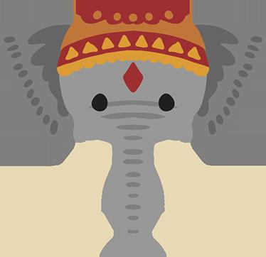 TenStickers. Adesivo murale bambini Elefante Indiano. Adesivo murale con l'illustrazione di dolce elefante indiano, perfetta per decorare la cameretta dei tuoi bimbi.