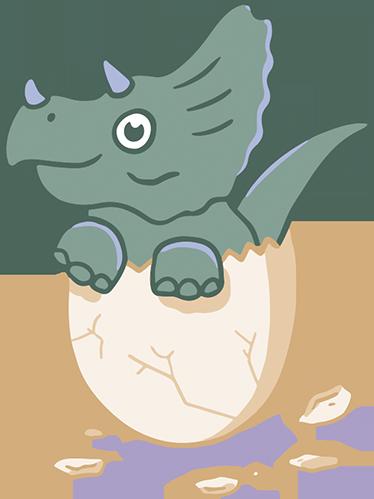 TenStickers. Muursticker Dino uit ei. Een geweldige sticker van een kleurrijke dino die uit een ei komt, een leuke toevoeging aan de babykamer.