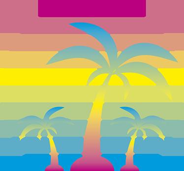 TENSTICKERS. 80iesサンセット自然壁デカール. 装飾的な自然ステッカーサンセット80年代。カラフルでオリジナルなステッカーでレトロな雰囲気をお楽しみください。良い夏の時間を思い出させてくれます!