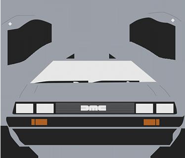 TenStickers. Muursticker De Lorean. Een mooie muursticker van een simpele tekeningen van de beroemde auto uit de film ´back to the future´ de d´lorean.